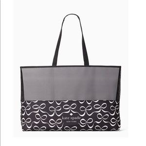 Kate spade black & white bow shopper tote